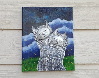 Original Acrylic Painting of Monsters and Fireflies