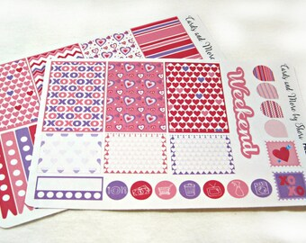 Planner Stickers - Weekly Planner Stickers - Happy Planner Stickers - Day Designer - Functional Stickers - Valentine's Day Stickers
