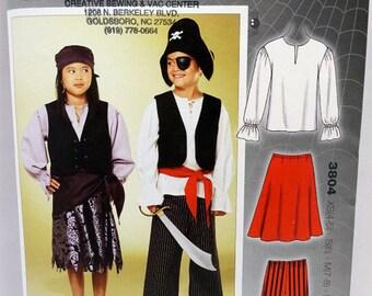 Kwik Sew 3804, Children's Costume Sewing Pattern, Pirate Costumes, Pirate Pattern, Sizes XS (4-5) to XL (12-14), New Unopened