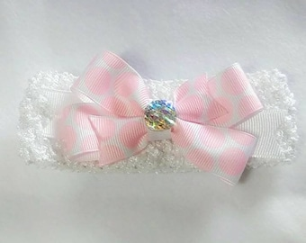 Pink and White bow and band
