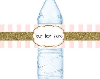 INSTANT DOWNLOAD - Gold Glitter Blush Pink Rose Stripe Water Bottle Label Birthday Baby Bridal Wedding Shower - You Print
