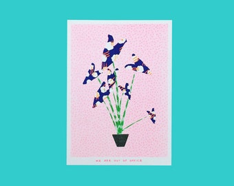 A riso graph print of a zebrina plant with weird leafs
