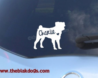 Pug Silhouette Vinyl Sticker - personalized Car Decal