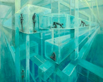 "Giclee Print, Surreal Oil Painting - ""Life in the Cube 13x18"""