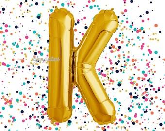 """Gold 40"""" Letter Balloon /""""K"""" Mylar Balloon / Metallic Gold Letter Balloons / Gold Number Balloon / Alphabet Letter Balloon / Custom Balloons"""
