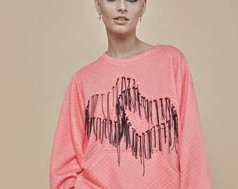 NEW! Pink quilted top - heart embroidery- sweatshirt - pink top - oversize sweater - soft sweatshirt - loose sweater - winter clothing