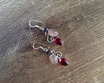 Handmade Silver Mystic Topaz + Rose Quartz & Garnet Drop Earrings
