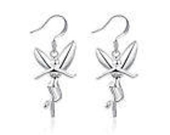 925 Sterling Solid Silver Humanoid angel earrings