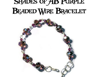 Shades of AB Purple Beads Silver Tone Wire Bracelet DG0022B1 Handmade Handcrafted Original Designs by Gina