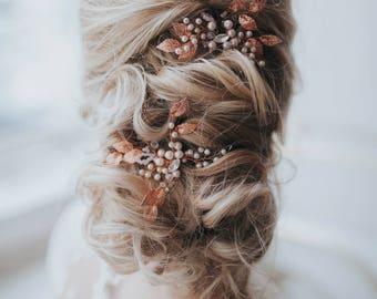 Rose Gold Hair Pin Bridal Accessories Rose Gold Bridal Hair Pin Wedding Hairpiece Hair Accessories Wedding Headpiece Leaf Hair Pin Weddings