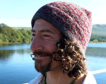 Fair Isle Hat in Dark Grey and Maroon Handmade from Pure Shetland Wool