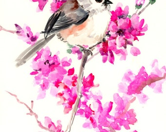 Birds and Flowers, Titmouse and Cherry Blossom, Original watercolor painting, , bird lover pink wall art, cherry blossom artwork