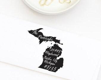Custom Address Stamp, Michigan, State Pride Address Stamp, Return Address Stamp Style No. 76
