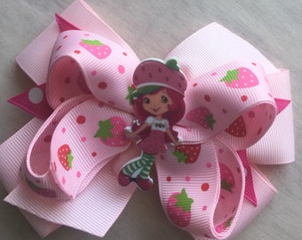 Strawberry girl hair bow boutique hairbow girls toddlers layered pink bow