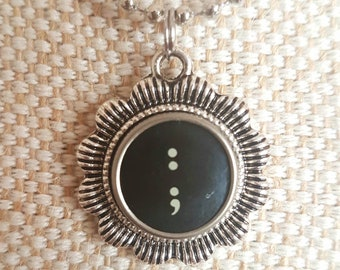 Black colon and semi colon symbol necklace with flower surround/ typewriter key pendant / silvertone flower pendant