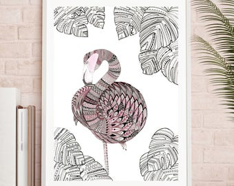 Freya the Flamingo, Flamingo, Tropical Birds, Tropical, Birds, Feathers, Zentangle Art, Gift