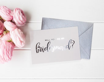 Will You Be My Bridesmaid, Maid of Honor, Flower Girl, Bestman, Matron of Honor - Silver Cards by Paper Charms - Set of 5 - B6 #WY107