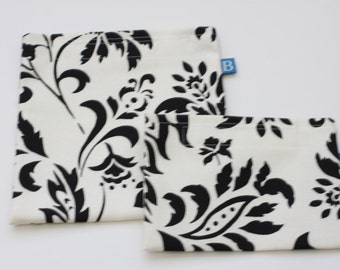 Reuseable Eco-Friendly Set of Snack and Sandwich Bags in Ivory and Black Floral  Print Fabric