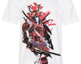 Japanese Warrior Samurai Traditional Graphic Art T-Shirt P409