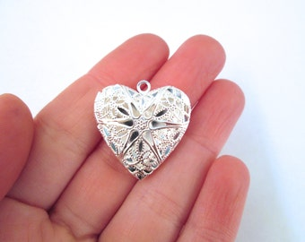 Heart filigree lockets, SILVER plated, 25x27mm, pick your amount, D6