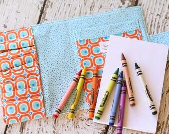 Crayon Wallet.  Crayon Roll.  Quiet Book. Crayon Holder. Travel Toys.  Gift for Kids.  Crayon Tote. Crayon Case. Coloring Wallet. Crayon Art
