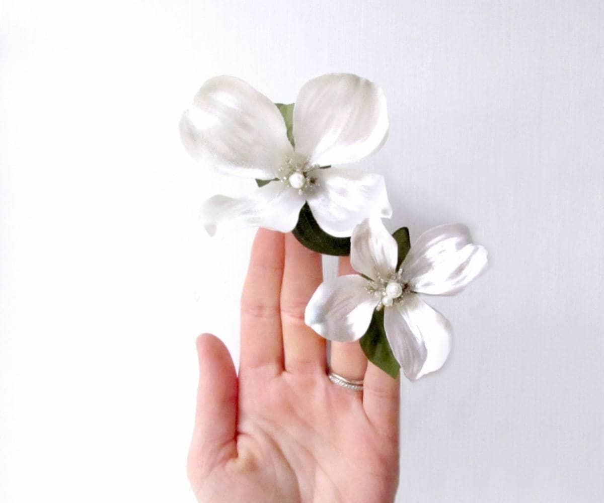 Bridal Hair Pins Ivory Floral Hair Clips White Flower Hair