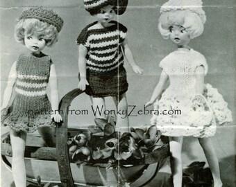 Vintage 12 inch Doll Clothes Knitting Patterns PDF 736 from WonkyZebra