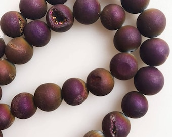 """Genuine Matte Purple Drusy Agate Round approximately 15.5"""" Long Size 6mm/8mm/10mm"""