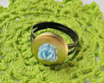 Locket Ring For Women - Adjustable Jewelry Jewellery Secret Keeper - Blue Rose Vintage Botanical Floral Brass
