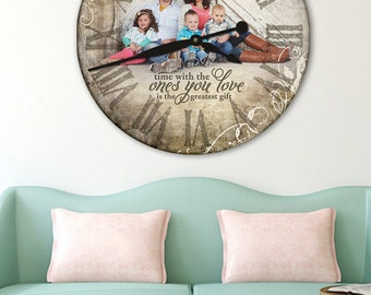 Personalized Clock, Photo Clock, Wall Clock, Personalized Photo Gifts,  Large Wall Clock Nice Design