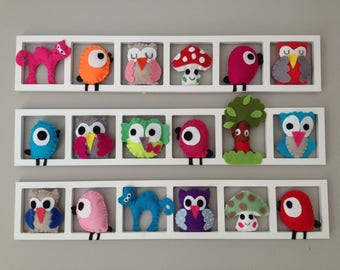 Wall Decoration Bedroom Wall Frame, Felt, Multicolored, Birth Gift Woodland  Animals, Personalized