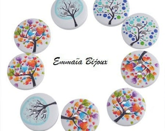 6 buttons 15 mm wooden trees