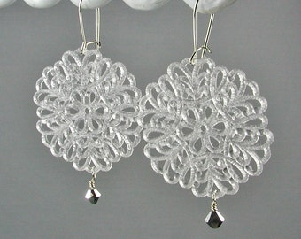Lacy White Lucite Filigree and Sterling Earrings