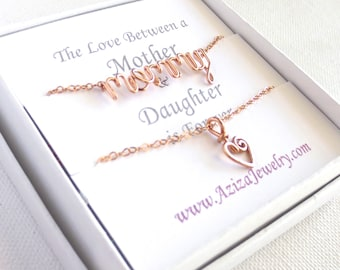 Rose Gold Mother Daughter Necklaces. Rose Gold Filled Mommy Necklace and Heart Necklace Set. Sale Mother's Day Necklace Gift Set.