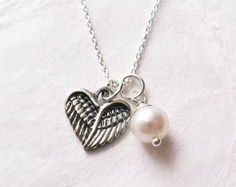 Miscarriage Necklace, Baby Loss Jewelry, Angel Wing Heart with Freshwater Pearl, Remembrance Necklace, Pregnancy Loss, Miscarriage Jewelry