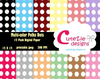 Crescent rainbow polka dot digital paper, nimbus dot digital paper, halo dot digital paper,  ignus baby digital paper, fun dot digital paper