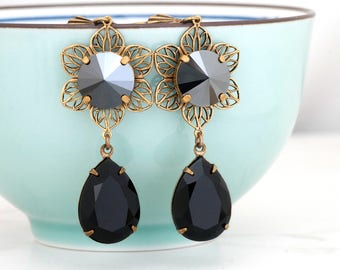 Jet Black Swarovski Crystal Earrings, Black Rhinestone Earrings Dangle, Black Crystal Flower Jewelry, Rhinestone Flower Earrings Drop, Eri
