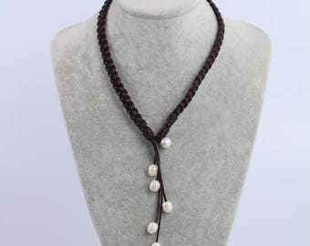 Boho pearl leather necklace, white pearl necklace, freshwater pearl jewelry, brown leather pearl necklace, leather choker necklace for women