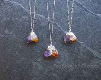 Silver Citrine Necklace / Silver Amethyst Necklace / Raw Crystal Necklace / Raw Amethyst Necklace / Raw Citrine Necklace
