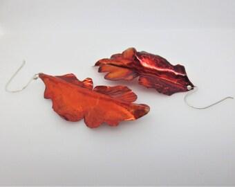 Leaf Earring - Organic Jewelry - Copper Jewelry - Fall Autumn Seasonal