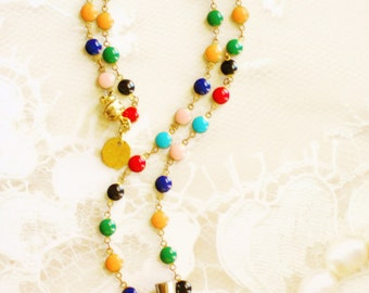 Vintage Perfume Bottle Rhinestone and Pearl Colorful Enamel Chain Red Orange Blue Green Black Necklace, The Caroling Necklace