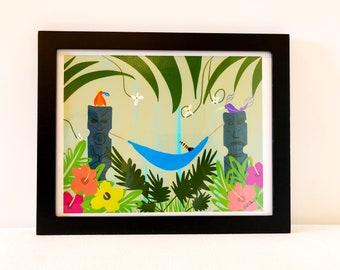 Jungle Rest - retro-style tiki jungle print