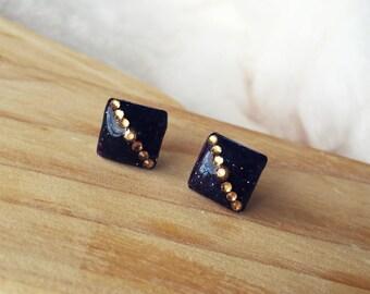 Resin Earrings/ Rhinestone Earrings/ Glitter Earrings/ Handmade Earrings/ Stud Earrings/ Surgical Steel