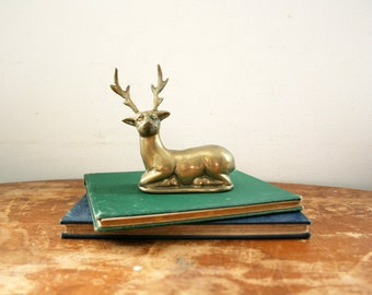 vintage 70s Mid Century Brass Laying Buck Deer Figurine  // Retro Christmas Decor