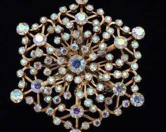 Vintage Star Brooch with Aurora Borealis Crystals, Star Brooch Austrian Crystal Rhinestones, Snowflake Brooch, Rhinestone Holiday Brooch
