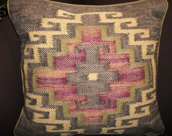 Jute Tribal Ikat Accent designer Pillow. Insert is included. Free shipping.