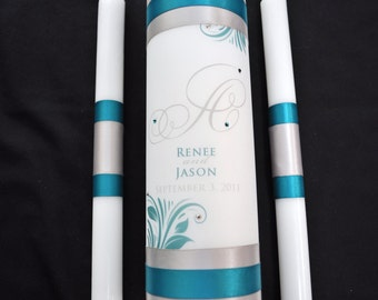 Monogram unity candle set with crystals - Teal Wedding Candle