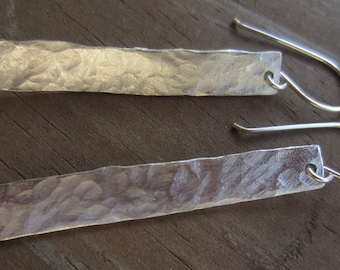 Hammered Silver Earrings, Long Silver Earrings, Hammered Jewelry