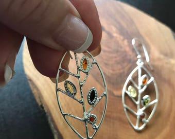 Baltic Amber Earrings, Sterling Silver 925.