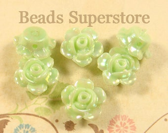 13 mm x 8 mm Mint AB Resin Flower Bead - 10 pcs